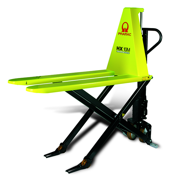 Here is an example of a small, neon yellow, electric pallet lift.